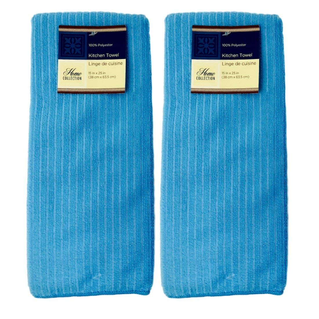 Home Collection Aqua Kitchen Towels 2 Pack 15 inch x 25 inch