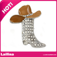 Lucky Western Cowboy Boots Brooch & Brown Hat Pin Charm Enamel Jewelry