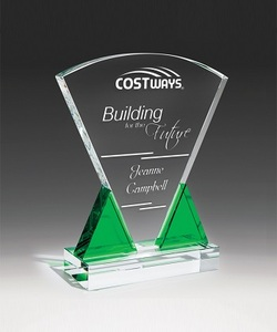 Free Customized Design Top arc crystal glass trophy for Corporate Awards