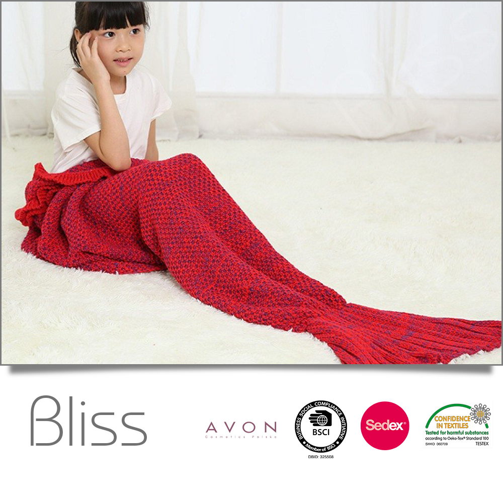 Fashion promotional thick 100%polyester knitted mermaid tail blanket