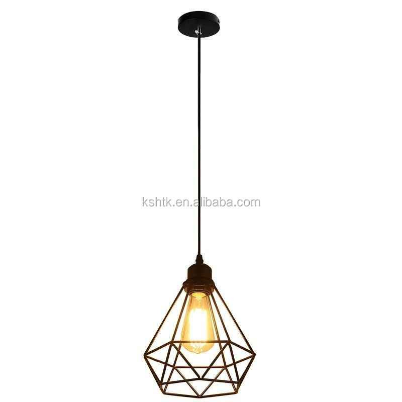 Vintage Pendant Light With Diamond Cage Hanging Droplight Lamp E27