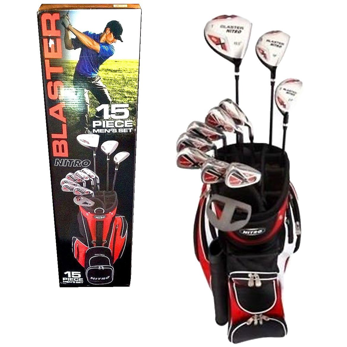 NITRO Blaster Men's 15 Piece Right Handed Golf Set with 1 Driver (#1), 1 Fairway Wood (#3), 1 Hybrid (#3), 6 Irons (#5, #6, #7, #8, #9 and P), Putter and 3 Matching Covers Plus Golf Bag with 6 Compartmental Top, 3 Pockets and Comfortable Carry Strap