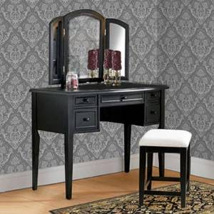 3-Piece Vanity, Mirror and Bench Set | Square Tapered Legs on Both Vanity and Bench - Antique Black