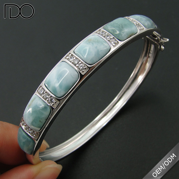 Multi beautiful style larimar jewelry,natural larimar silver bracelet,wholesale larimar jewelry sterling silver bangle