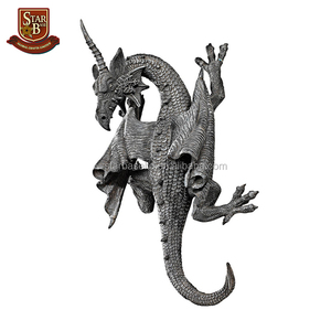 Factory custom made resin horned dragon of devonshire wall sculpture