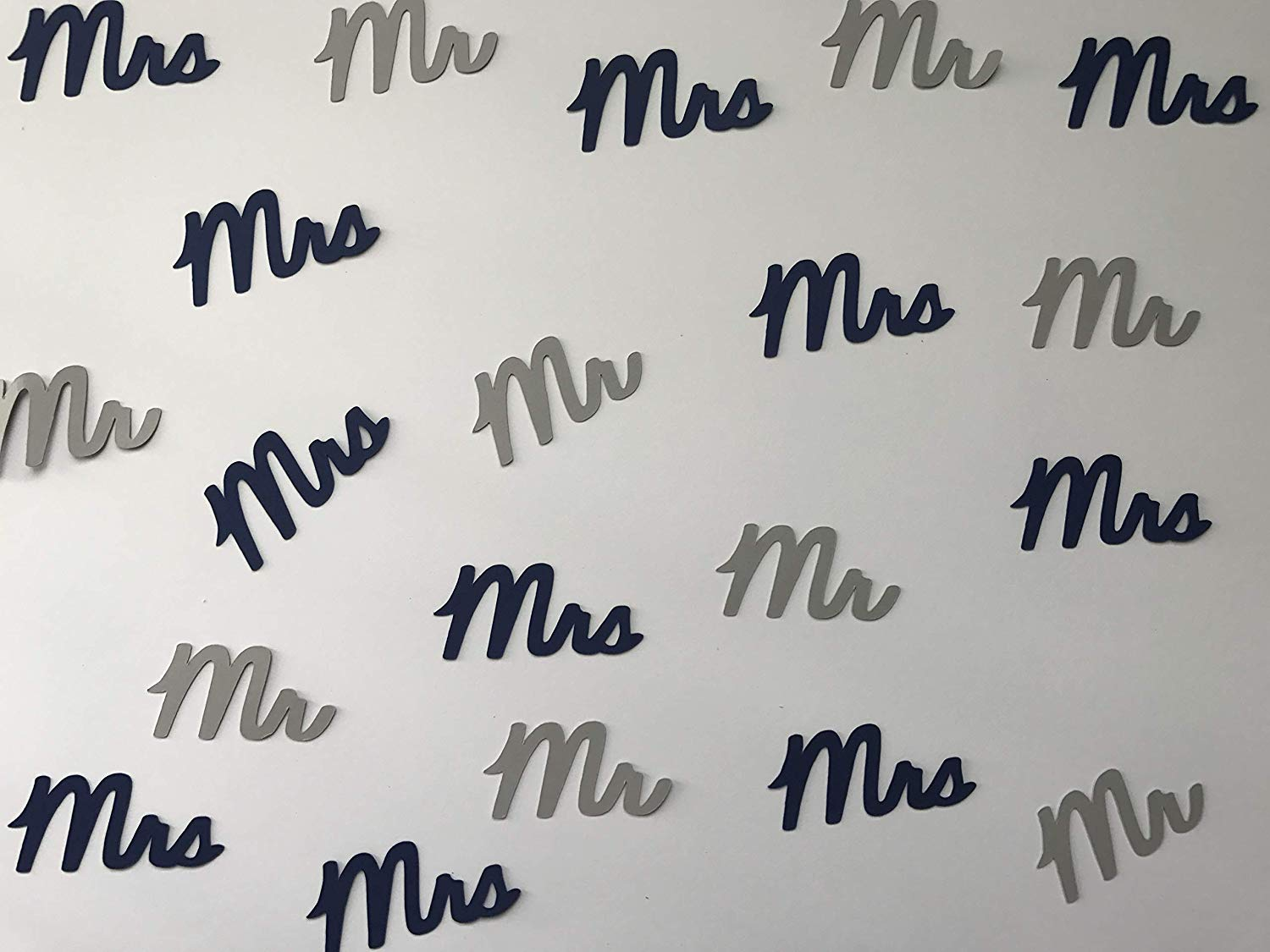 Navy and Grey Mr. & Mrs. Confetti - Navy and Grey Wedding Decorations - Navy and Grey Bridal Shower Decorations - Navy Wedding Decor - 100 pieces
