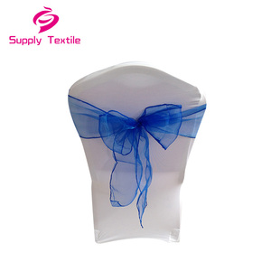 Cheap Custom Made Hotel Blue Wedding Banquet Organza Chair Sash