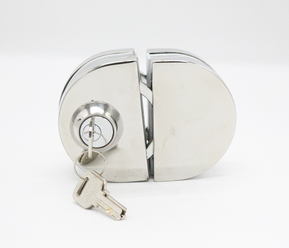 SUS201 stainless steel Half Round Double side with keys glass door lock