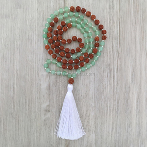 ST0456 Opportunity Mala Green Stone & Rudraksha Necklaces Tassel 108 beadsHand Knotted Bodhi Seed necklace meditation beads