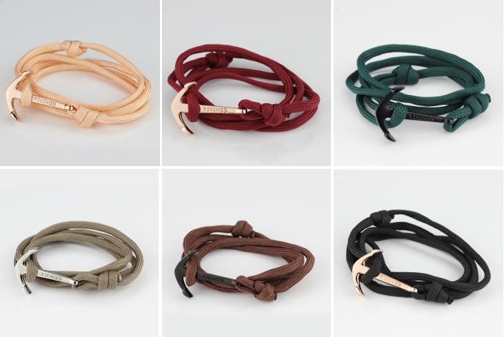 Hot sale fashion jewelry Nylon Paraocrd Rope Mens/Womens handmade Anchor Bracelet Vikings
