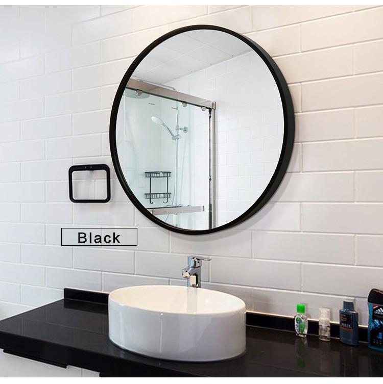 Black round mirror bathroom male female adapter plug