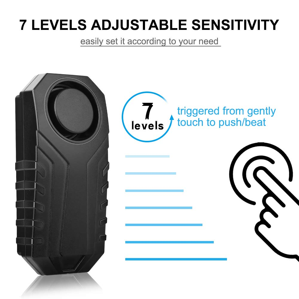 113dB Wireless Anti-Theft Vibration Motorcycle Bicycle Security Alarm w// Remote