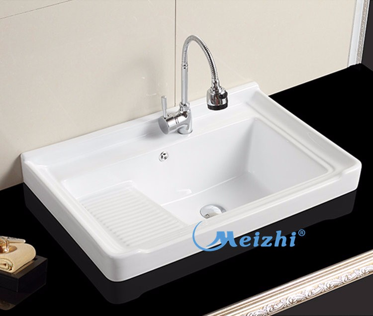 Ceramic Laundry Tub With Washboard