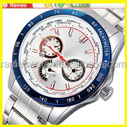 2019 new style crystal bling-bling dial crocodile strap chronograph mens watches