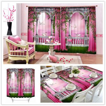 Moderne Rosa Prinzessin Stil Burg 3d 100% Polyester Tischdecke,Bad  Duschvorhang,Fenster Vorhang Mit Wohnzimmer - Buy Wohnzimmer  Vorhänge,Blackout ...