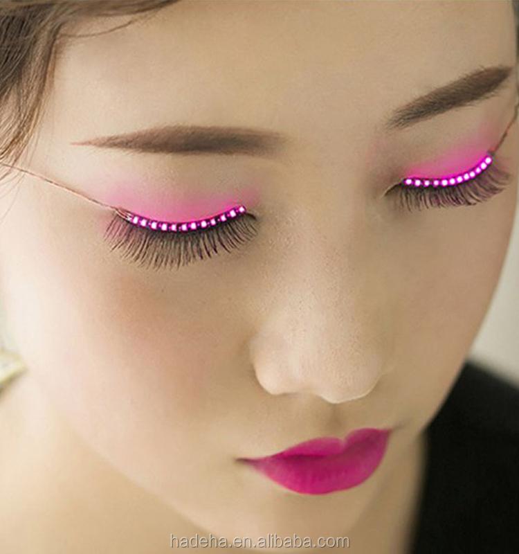 Amazon Hot Selling Luminous Party Flashes Led Eyelashes Led Shiny