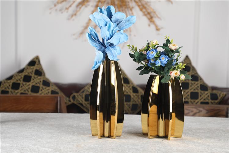Unieke groothandel gold metal bloem decoratie geometrische rvs vaas