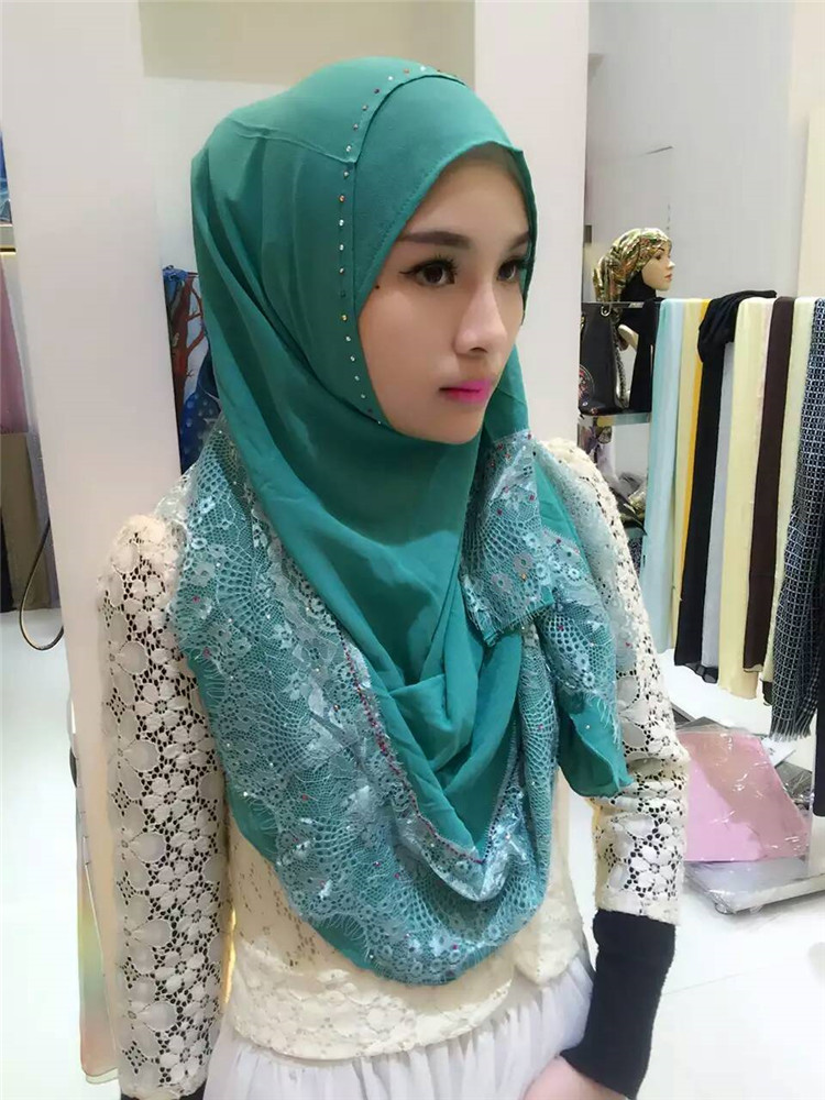 New Arrival Beautiful Women Pearl Chiffon Lace Instant Hijab Muslim Factory