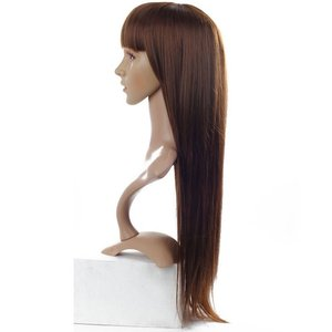 Dark Brown Synthetic Wig for female Long straight wig with inner buckle