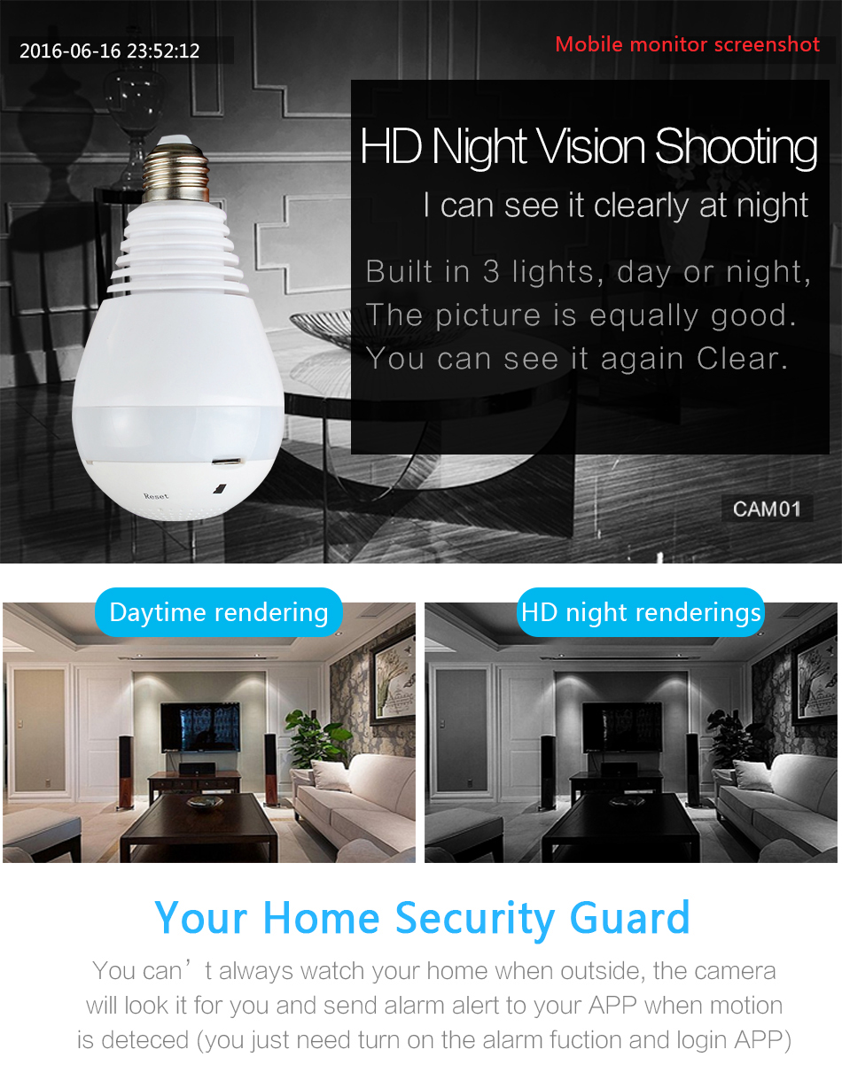 2018 Wireless Ip Camera Bulb Light Fisheye Smart Home Cctv 3d 360 Degree Vr  Camera 2mp Home Security Panoramic Night Vision - Buy Panoramic