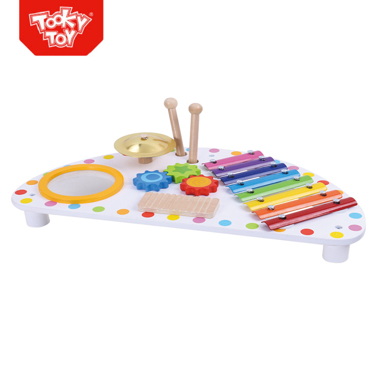Education Miniature Wooden Music Instrument drum toy tuba instrument