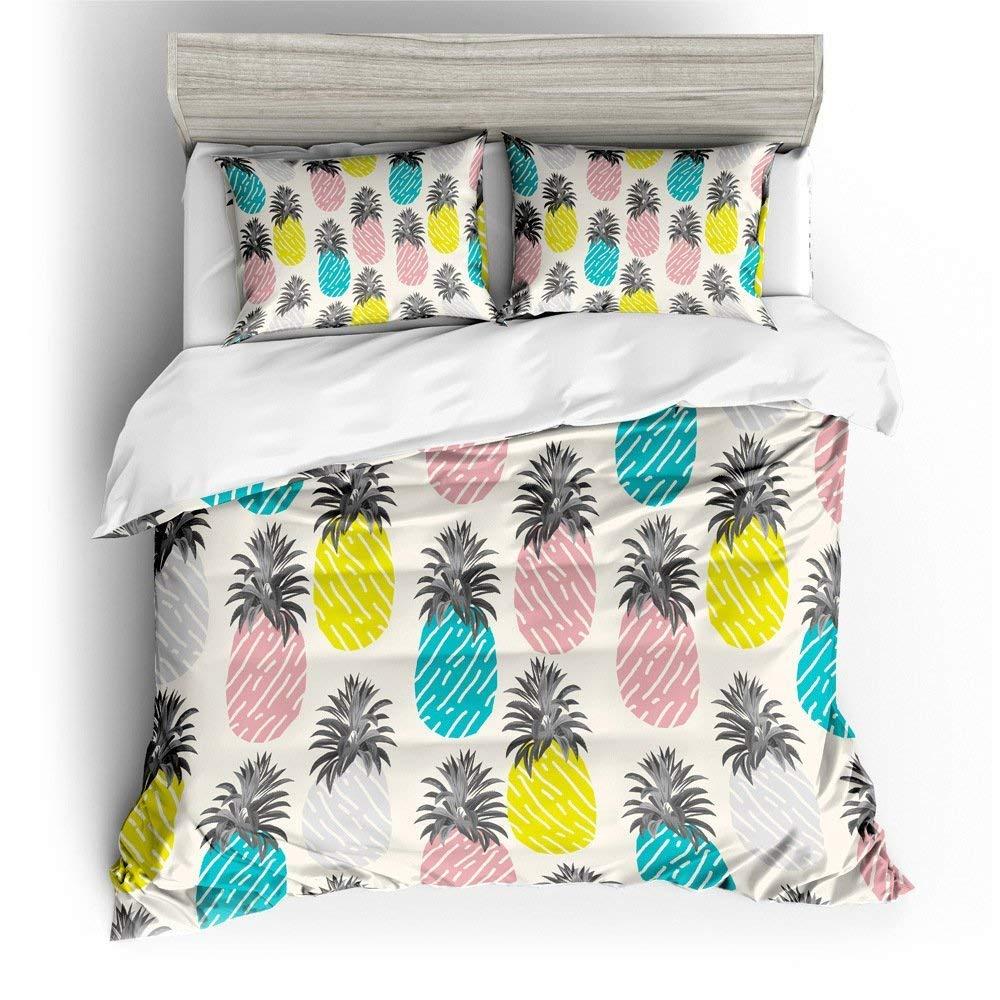 HyUkoa Hawaiian Pineapple Pattern Tropical Watercolor Bedding Sets 3 Pieces(1pc Duvet Cover+2pc Pillowcase) US Queen Size,No Comforter