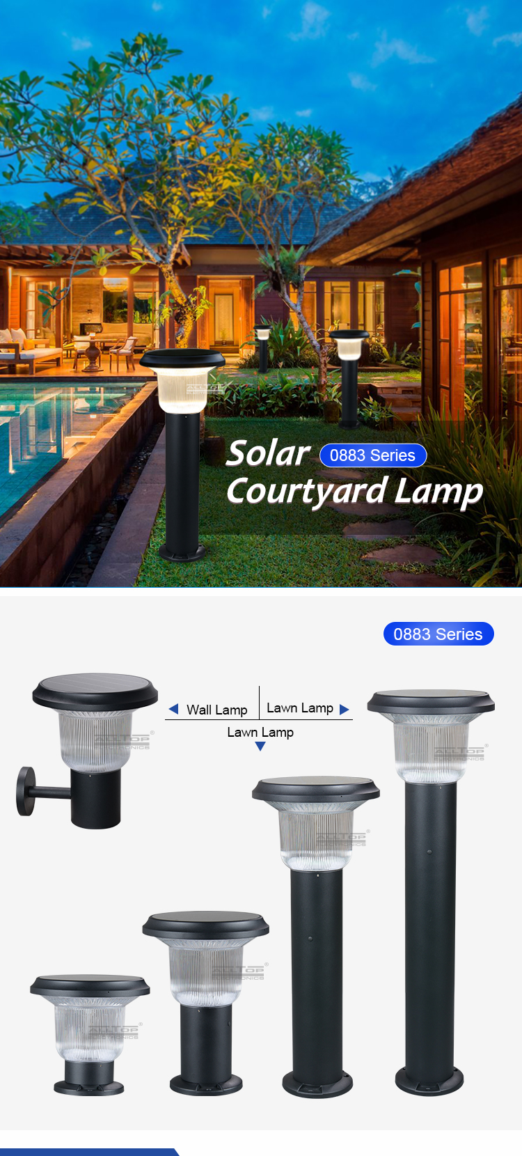 ALLTOP High Quality Outdoor Lighting bridgelux IP65 Waterproof 5watt solar led garden light