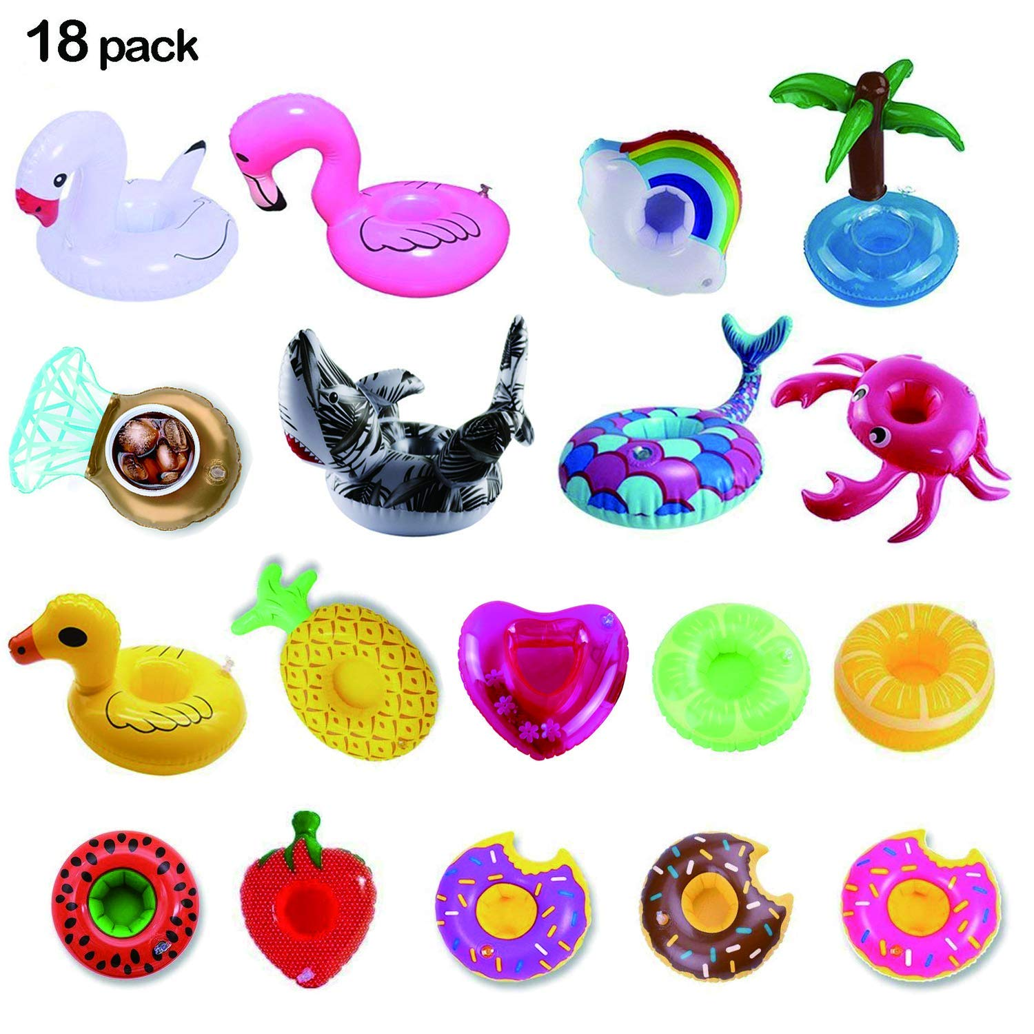 LKDEPO Inflatable Drink Holder 18 Pack, Floats Inflatable Cup Coasters for Summer Pool Party and Kids Fun Bath Toys[Newest Type Shark&Mermaid]