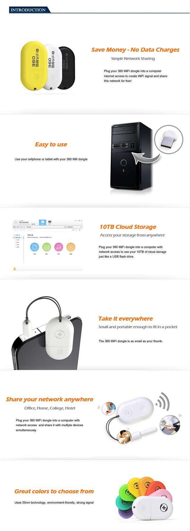 360 WiFi 2 Mini Wireless Router 360 Portable WiFi Adapter luxury Settings Super Easy 150KBS Computer Network