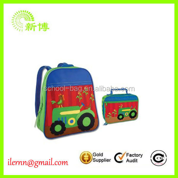 new product kids customized logo backpack with lunch bag