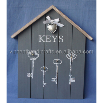 Antique blue house shape wall hanging wooden decorative key holder antique blue house shape wall hanging wooden decorative key holder ppazfo