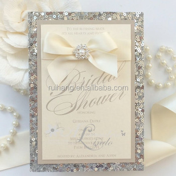 Silver Sequins Pearl Bling Wedding Invitation Cards