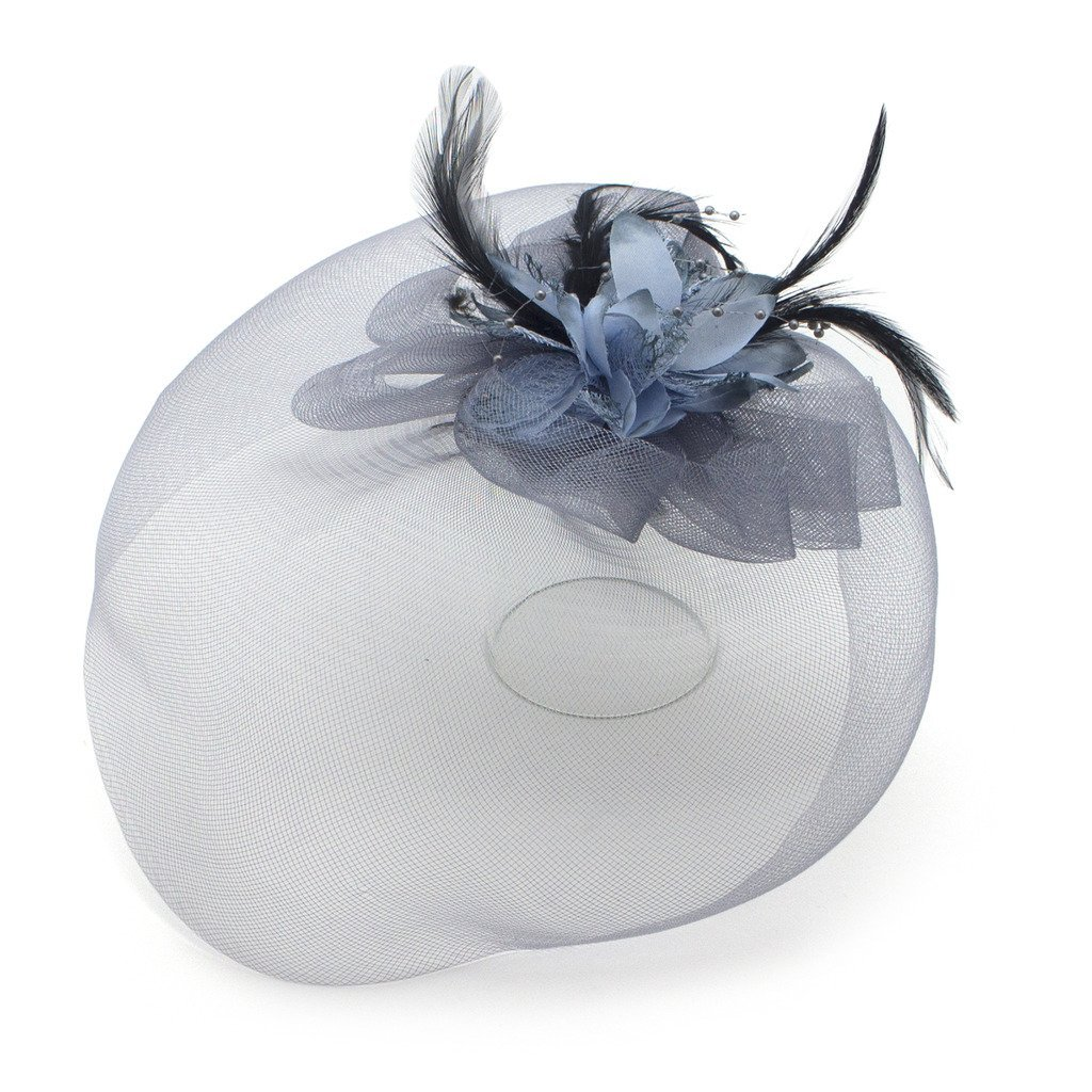 Ladies' Fashionable Feather Flower Bead Detailed and Mesh Ascot/Derby Day Fascinator Hat Headdress - Blue Grey