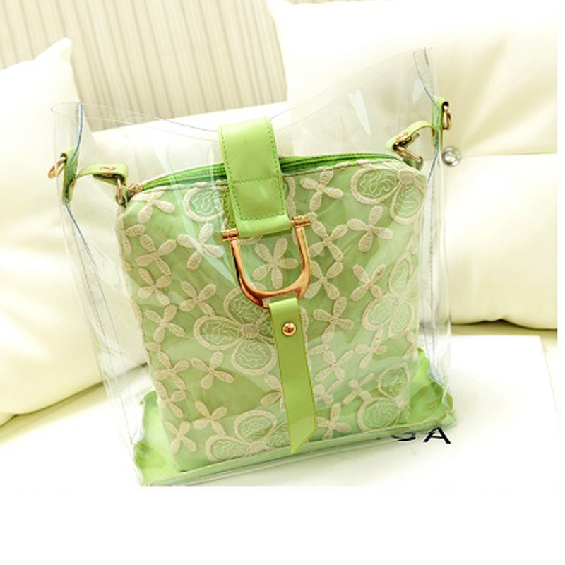 Summer fashion bags Colorful Jelly lace bag ladies Transparent pvc beach bag women messenger handbags girls mini shoulder bags