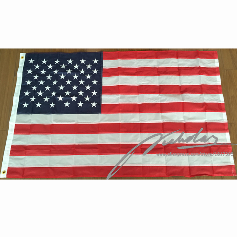 f71bd3c5e79d Get Quotations · Embroidered American Flag 90 150CM Polyester USA Flags  Banner with 50 Embroidered Stars 2 Metal