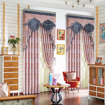 Fancy Satin Fabrics Classic Curtain Valances And Swags With Drapes