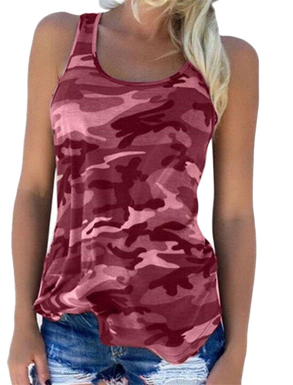 9be13884080 Get Quotations · CBTLVSN Womens Leisure Camo Print Sleeveless Slim Stylish  Tank Top Plus Size