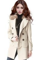 2015 Korean Style Winter Long Ladies Wool Jackets Multi Wear Fur Collar Double Breasted Women's Woolen Coat