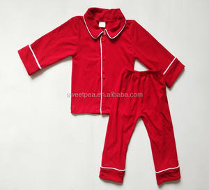 New arrival boutique kids pajamas solid color red boys pajamas fall and winter baby clothing