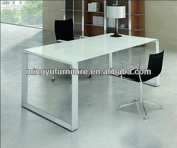 Tempered Glass Office Table, Steel Frame Powder Coated Finish