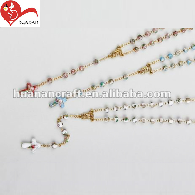 christian saint 6MM multicolor cloisonne chaplet rosary necklaces with cross