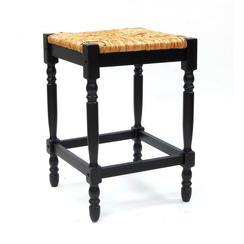 Carolina Gilbert 24 in. Counter Stool - Antique Black with Rush Seat