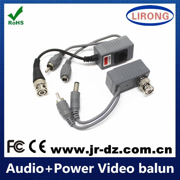 twisted pair UTP cat5 Network cctv video baluns with video audio and power input