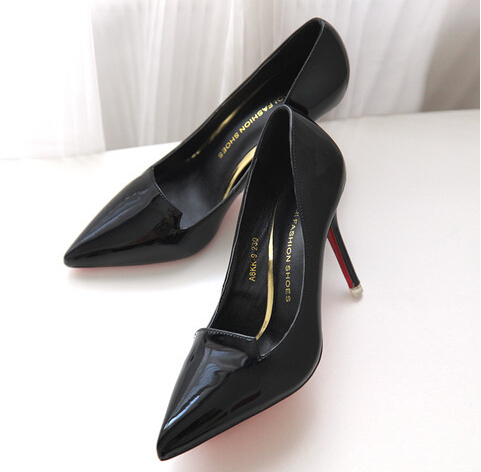 2015 Pointed Toe Pumps Thin High Heels Shoes Leather Shoes Women Shallow Mouth Wedding Dress Shoes Fashion Spike Heels Light