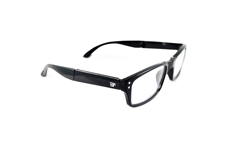 3aeda41a768 Get Quotations · EYEFolds Banker Gloss Black Plastic Fashion Foldable 3.0 x  Reading Glasses 55mm