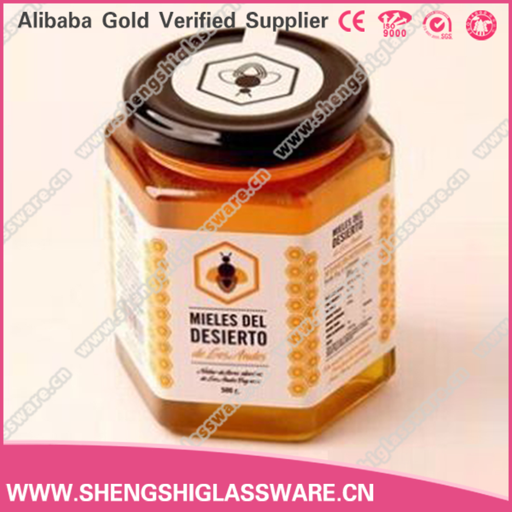 280ml Hexagon Shaped Honey Glass Jar with Metal Cap