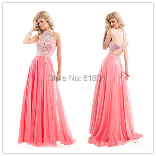 Vestidos De Festa 2015 Long Prom Dresses Halter Sleeveless Backless Floor Length Chiffon Crystal Beaded Evening Dress Party Gown