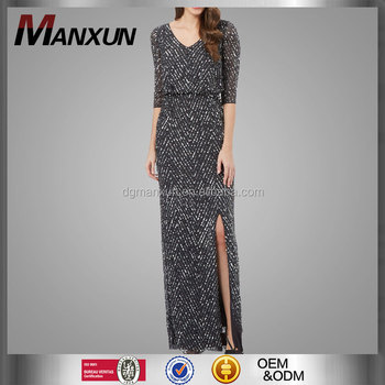 Apparel Factory Price Dark Grey Elegant Sequin Maxi Dress Beautiful