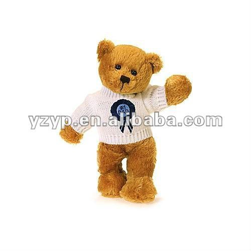 plush soft yellow teddy bear toy with clothes