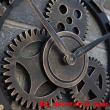 Handmade Oversized 3D retro rustic big gear wooden wall clock